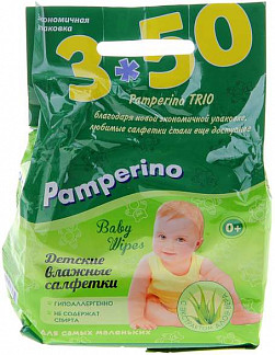 Памперино салфетки влажные детские алоэ (трио) n50х3