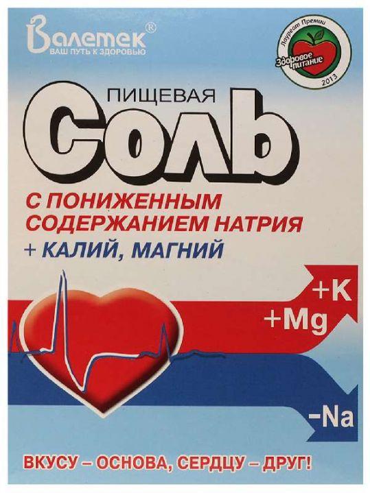 Соль пищевая с пониж na+к,mg 350г, фото №1