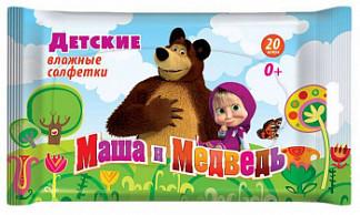 Маша и медведь салфетки влажные для детей 20 шт.
