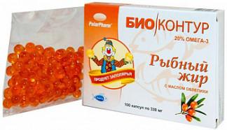 Рыбий (рыбный) жир биоконтур облепиха капсулы 0,3г 100 шт.