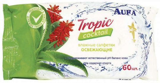 Аура салфетки влажные освежающие тропический коктейль 60 шт., фото №1