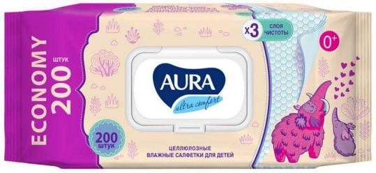 Аура ультра комфорт салфетки влажные для детей с крышкой 200 шт., фото №1