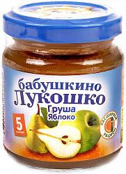 Бабушкино лукошко пюре груша/яблоко без сахара 3,5+ 100г