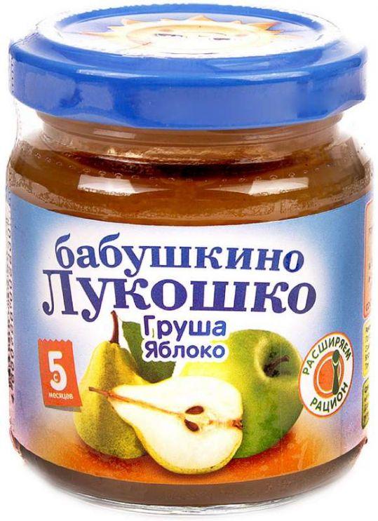 Бабушкино лукошко пюре груша/яблоко без сахара 3,5+ 100г, фото №1