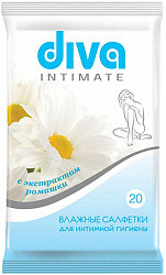 Дива салфетки влажные для интимной гигиены ромашка 20 шт.