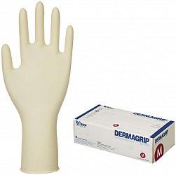 Дермагрип экстра перчатки смотровые латексные нестерильные неопудренные повышенной прочности натурального цвета размер m 25 шт. пар