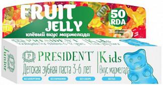 Президент кидс зубная паста для детей 3-6 лет со вкусом мармелад без фтора 50мл