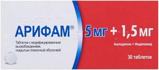 Арифам 5мг+1,5мг 30 шт. таблетки модифицированного высвобождения покрытые пленочной оболочкой