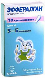 Эффералган 80мг 10 шт. суппозитории ректальные для детей