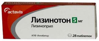 Лизинотон 5мг 28 шт. таблетки