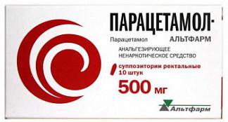 Парацетамол-альтфарм 500мг 10 шт. суппозитории ректальные альтфарм