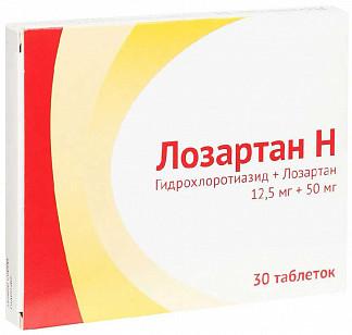 Лозартан-н 12,5мг+50мг 30 шт. таблетки покрытые пленочной оболочкой