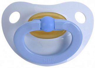 Нук пустышка латексная для сна беби блю с кольцом размер 1 0+ (10725760)