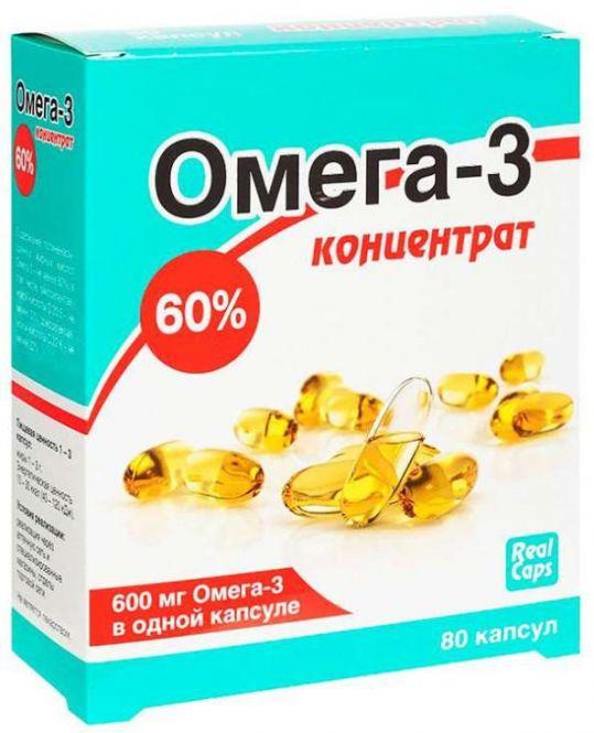 Омега-3 капсулы 60% концентрат 600мг (1г) 80 шт., фото №1