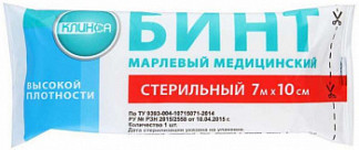 Клинса бинт стерильный медицинский высокой плотности 7х10см