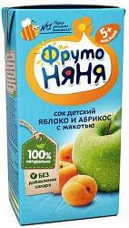 Фрутоняня сок яблоко/абрикос с мякотью без сахара 5+ 0,2л