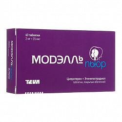 Модэлль пьюр 2мг+0,035мг 63 шт. таблетки покрытые оболочкой