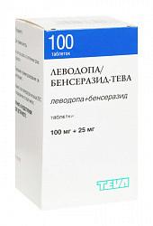 Леводопа/бенсеразид-тева 100мг+25мг 100 шт. таблетки
