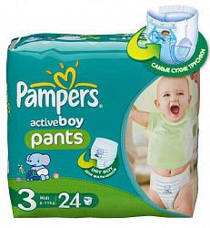 Памперс актив бой подгузники для мальчиков миди размер 3 6-11кг 24 шт.
