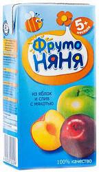 Фрутоняня нектар с мякотью яблоко/слива 5+ 0,2л