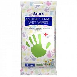Аура салфетки влажные антибактериальные 20 шт.