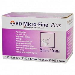 Бектон дикинсон микро-файн плюс иглы для шприц-ручки одноразовые 31g (0,25x5мм) 100 шт.