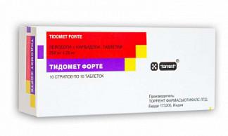 Тидомет форте 250мг+25мг 100 шт. таблетки