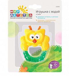 Мир детства прорезыватель-погремушка с водой сова 0+ арт.23036