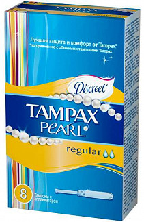 Тампакс дискрит перл тампоны с аппликатором регуляр 8 шт.