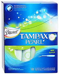 Тампакс дискрит перл тампоны с аппликатором супер 18 шт.