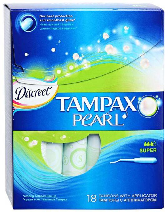 Тампакс дискрит перл тампоны с аппликатором супер 18 шт., фото №1