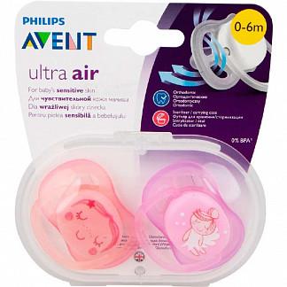 Авент ультра эйр пустышка силиконовая для девочек 0-6 месяцев (scf345/02) 2 шт.