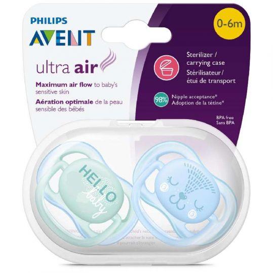 Авент ультра эйр пустышка силиконовая для мальчиков 0-6 месяцев (scf342/20) 2 шт., фото №1