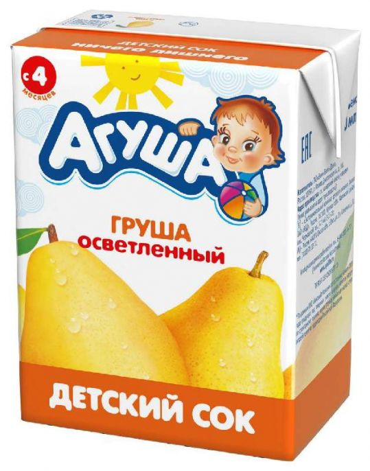 Агуша сок осветленный груша 4+ 200мл пач., фото №1