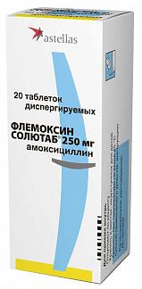 Флемоксин солютаб 250мг 20 шт. таблетки диспергируемые