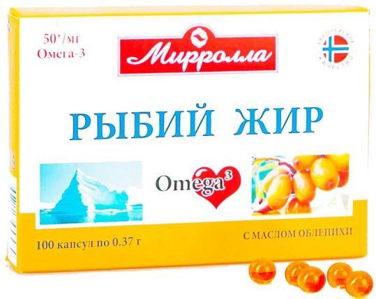 Мирролла рыбий жир капсулы облепиха 100 шт., фото №1