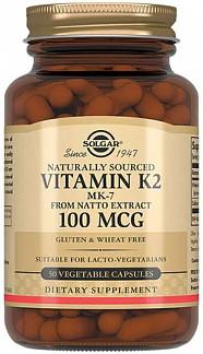 Солгар витамин к2 капсулы натуральный 100мкг 50 шт.