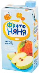 Фрутоняня сок с мякотью яблоко/персик 0,5л