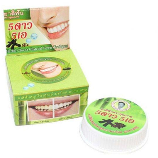 5 стар косметик зубная паста отбеливающая с углем бамбука 25г, фото №1