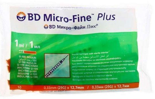 Бектон дикинсон микро-файн плюс шприц инсулиновый 1мл u-100 с иглой 30g (0,3х8мм) 1 шт., фото №1
