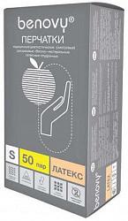 Бенови перчатки смотровые латексные нестерильные опудренные размер s 50 шт.