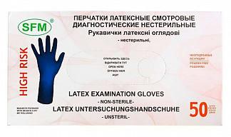 Сф перчатки диагностические латексные нестерильные неопудренные размер m 50 шт. пар