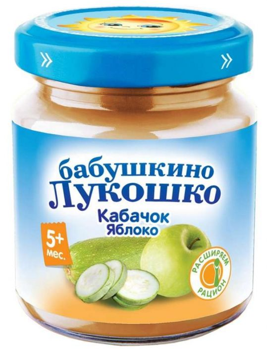 Бабушкино лукошко пюре кабачок/яблоко 5+ 100г, фото №1