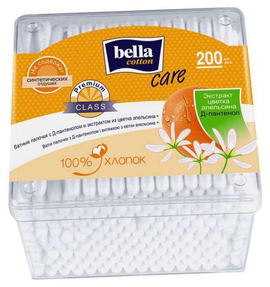 Белла коттон кеа ватные палочки апельсин/д-пантенол квадратная упаковка 200 шт., фото №1