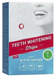 Глобал вайт полоски отбеливающие для зубов с активным кислородом 7 шт.