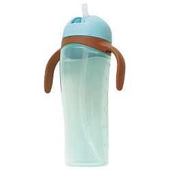 Пиджен чашка-поильник с высокий с трубочкой голубой арт.3218 330мл