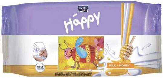 Белла беби хеппи салфетки влажные молоко и мед 64 шт., фото №1