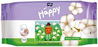 Белла беби хеппи салфетки влажные шелк и хлопок 64 шт.