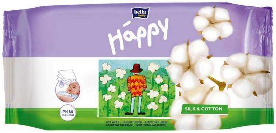 Белла беби хеппи салфетки влажные шелк и хлопок 64 шт., фото №1