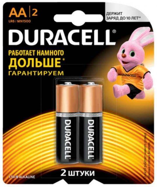 Дюрасел (duracell) батарейка 1500 lr-6 aa 2 шт. большие, фото №1